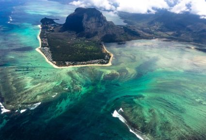 Undersea waterfall helicopter tour Mauritius