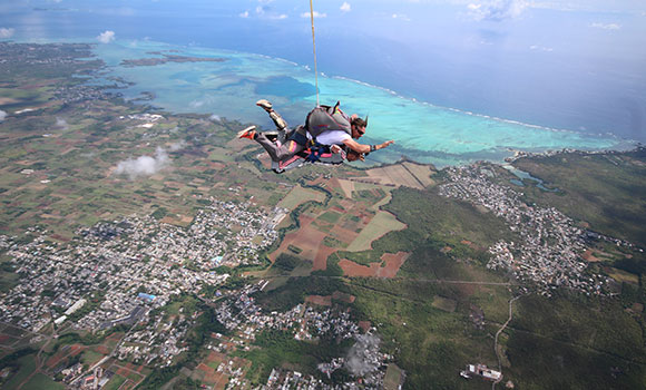 Sky Diving thrilling activity Mauritius